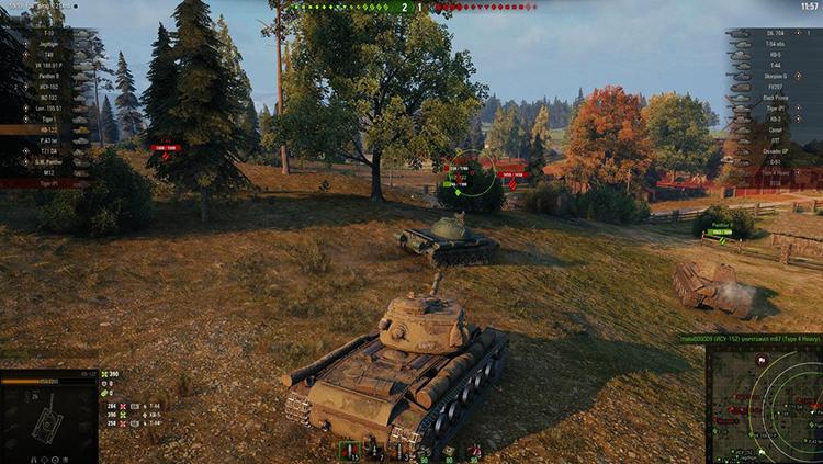Сражение в игре World of Tanks